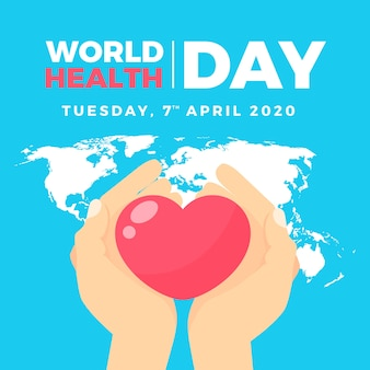 Flat design world health day background