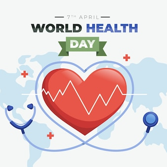 Flat design world health day celebration theme