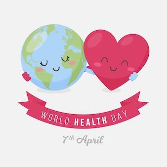 Flat design world health day concept