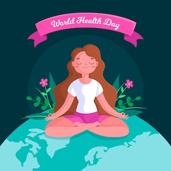 Flat design world health day concept