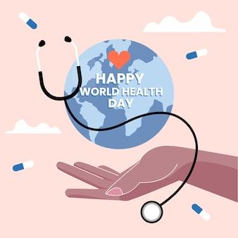 Flat design world health day event