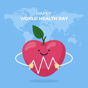 Flat design world health day healthy apple