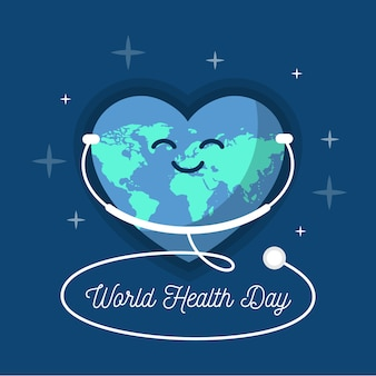 Flat design world health day listening the stethoscope