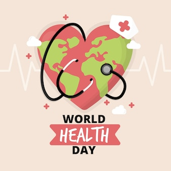Flat design world health day planet earth nurse