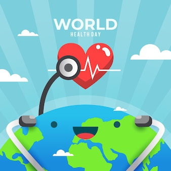 Flat design world health day and smiley earth