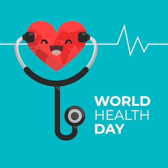 Flat design world health day smiley heart and pulse