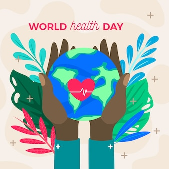Flat design world health day wallpaper