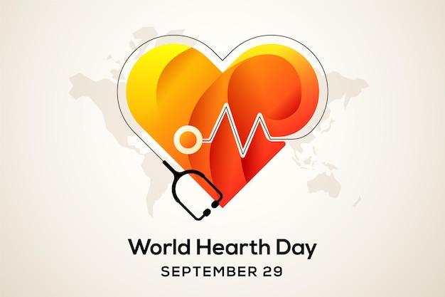 평면 디자인 세계 심장의 날 개념