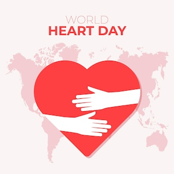 Flat design world heart day concept