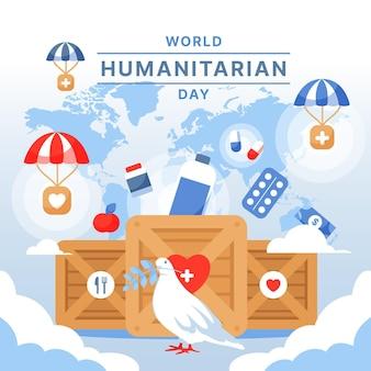 Flat design world humanitarian day concept
