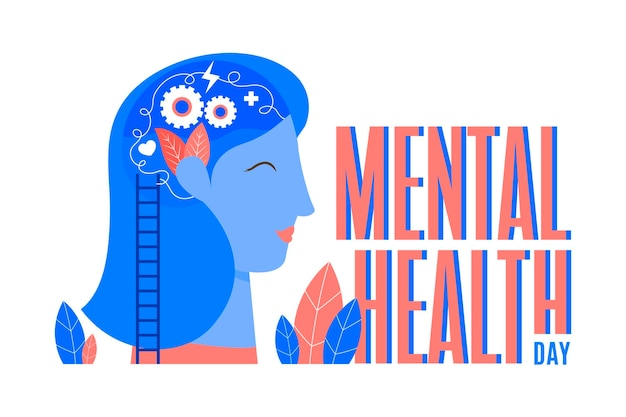Flat design world mental health day background with woman