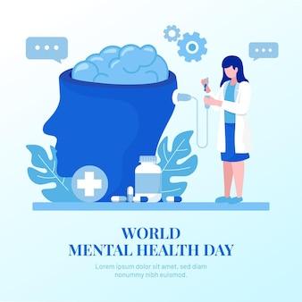 Плоский дизайн всемирного дня психического здоровья фон