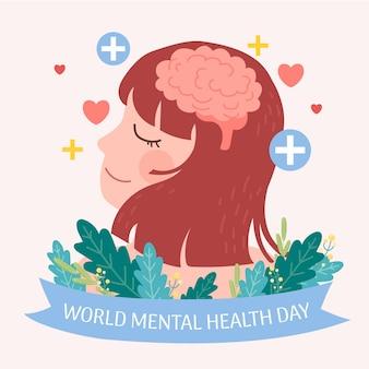 Flat design world mental health day concept