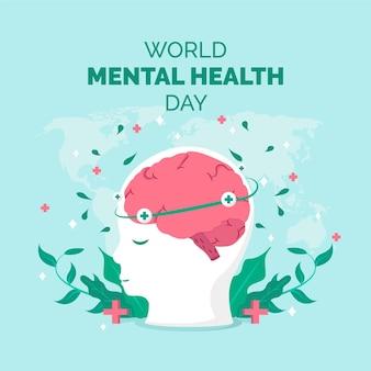 평면 디자인 세계 정신 건강의 날 개념