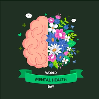 Flat design world mental health day event