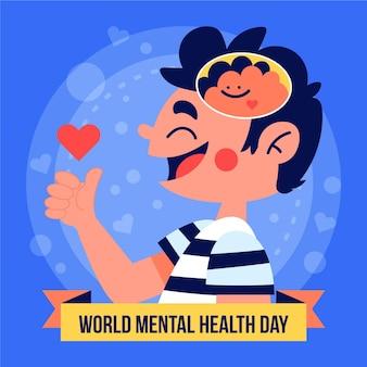 Всемирный день психического здоровья в плоском дизайне с мальчиком