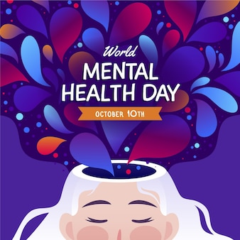 Flat design world mental health day