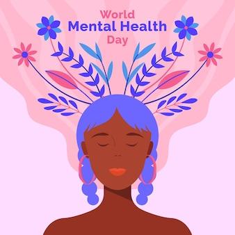 Flat design world mental health day