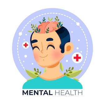 Всемирный день психического здоровья в плоском дизайне