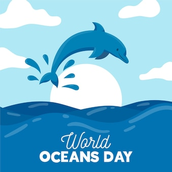 Flat design world oceands day concept