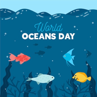 Concetto di design piatto mondo oceands giorno