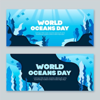 Flat design world oceans day banner template