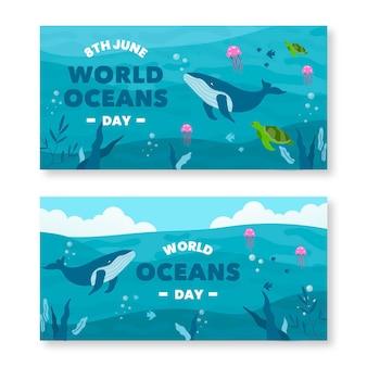 Banner di design piatto mondo degli oceani