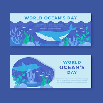 Flat design world oceans day banners