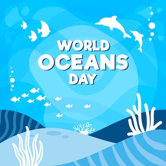Flat design world oceans day concept