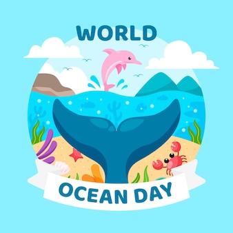 평면 디자인 세계 바다의 날 개념