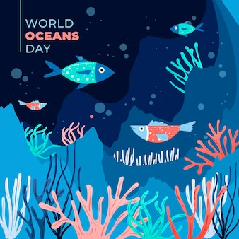 Flat design world oceans day concept