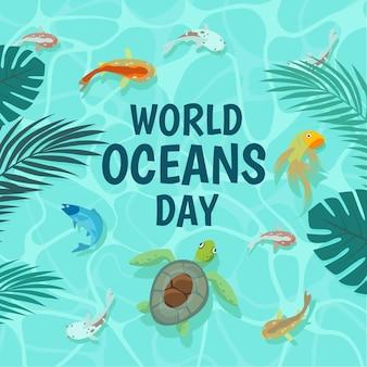 フラットなデザインの世界海の日のコンセプト