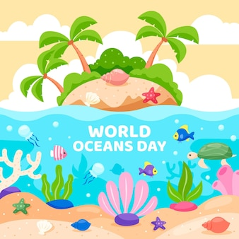 Flat design world oceans day event