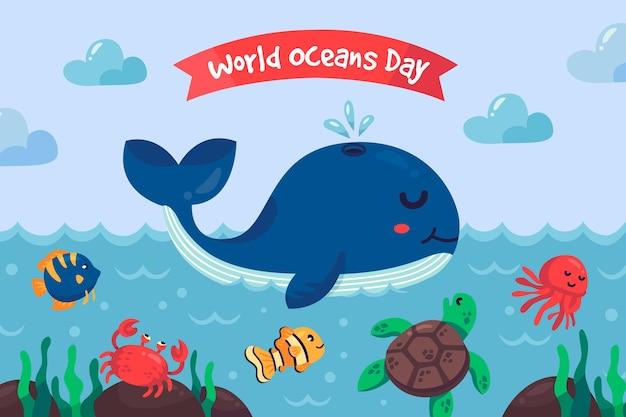 Flat design world oceans day illustration