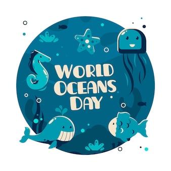 Плоский дизайн всемирный день океанов иллюстрации