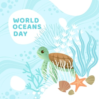 Flat design world oceans day wallpaper