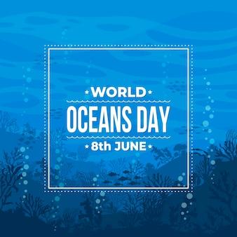 Плоский дизайн всемирный день океанов