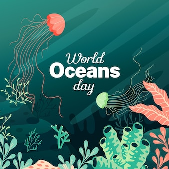 Flat design world oceans day