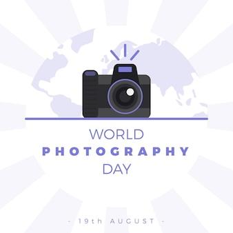 フラットなデザインの世界の写真の日のコンセプト