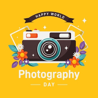 Flat design world photography day concept
