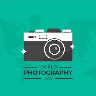 Flat design world photography day illustration