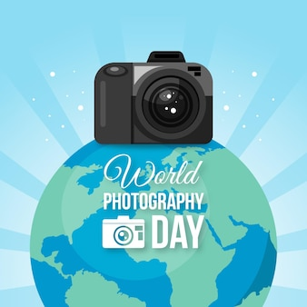 Flat design world photography day theme