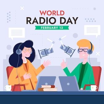 キャラクターとフラットなデザインの世界のラジオの日の背景