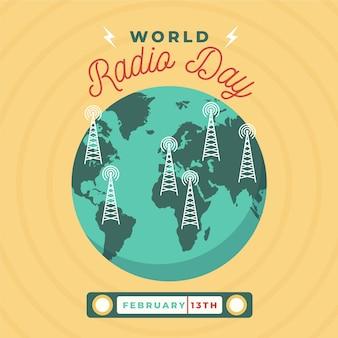 Плоский дизайн всемирного дня радио фон с планетой