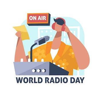 フラットデザイン世界ラジオデーイラスト