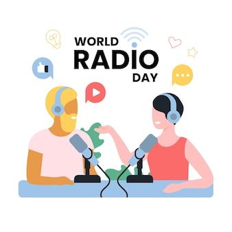 フラットなデザインの世界のラジオの日の男性と女性のオンエアコンセプト