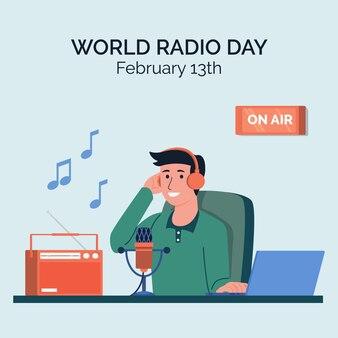 Flat design world radio day