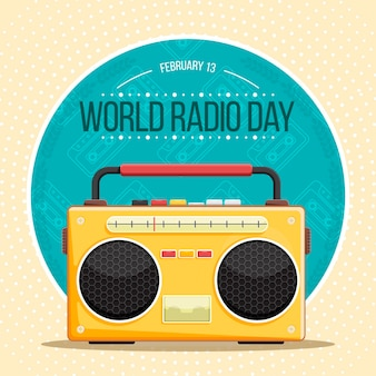 Всемирный день радио в плоском дизайне