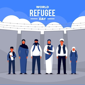 Flat design world refugee day celebration