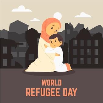 Flat design world refugee day concept
